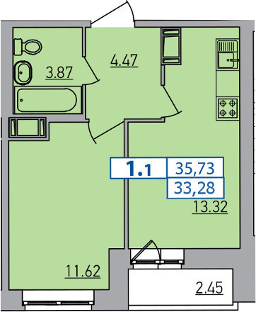 2-к.кв (евро), 35.73 м²