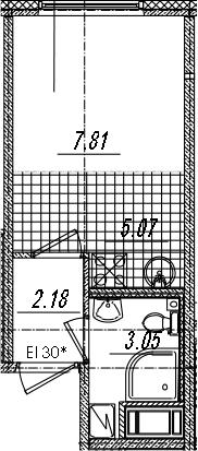 Студия 18 м<sup>2</sup> на 14 этаже