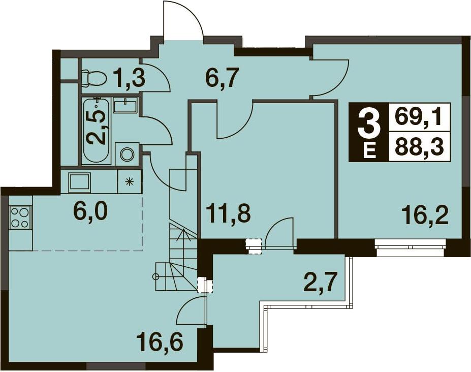 3-к.кв (евро), 91 м²