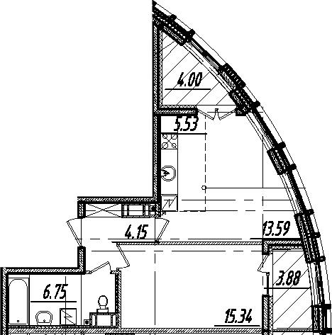 2-комнатная 53 м<sup>2</sup> на 8 этаже
