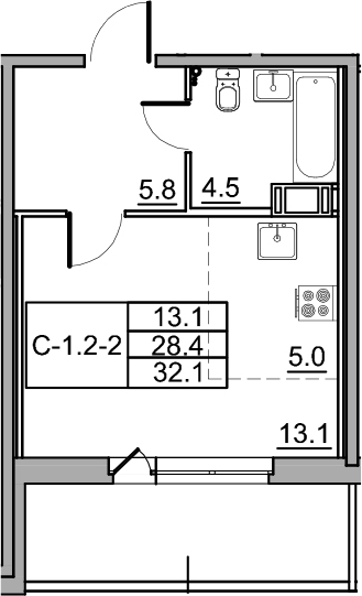 Студия 35 м<sup>2</sup> на 10 этаже