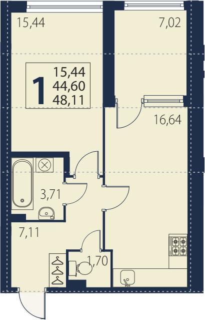 2-к.кв (евро), 51.62 м²