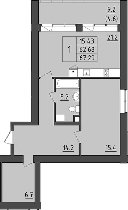 2-комнатная 81 м<sup>2</sup> на 3 этаже
