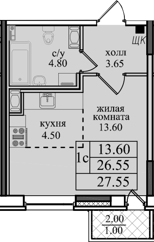 Студия, 28.55 м²