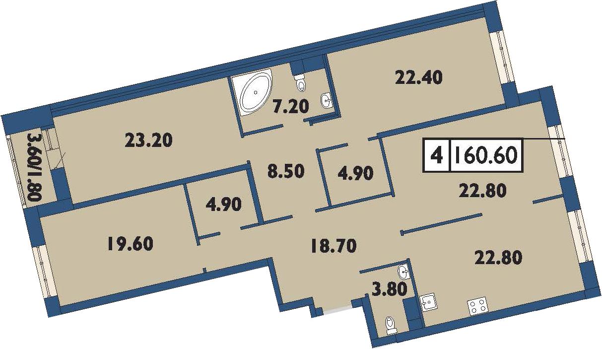 4-комнатная 162 м<sup>2</sup> на 13 этаже
