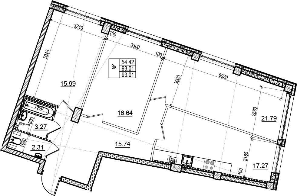 4-комнатная 93 м<sup>2</sup> на 3 этаже