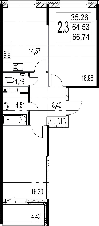 2-комнатная 68 м<sup>2</sup> на 8 этаже