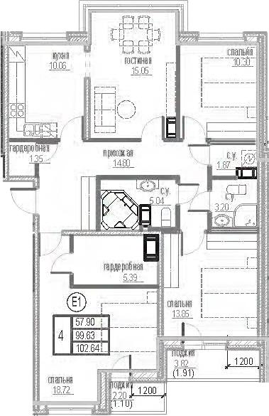 4-комнатная 105 м<sup>2</sup> на 12 этаже