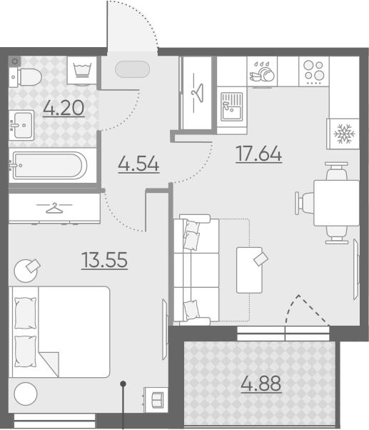 2-комнатная 44 м<sup>2</sup> на 11 этаже