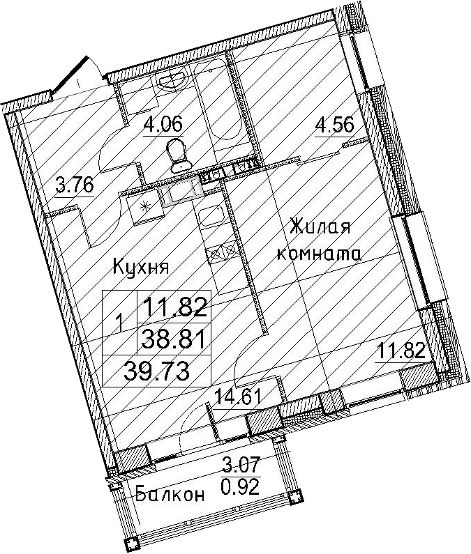 2-к.кв (евро), 41.88 м²
