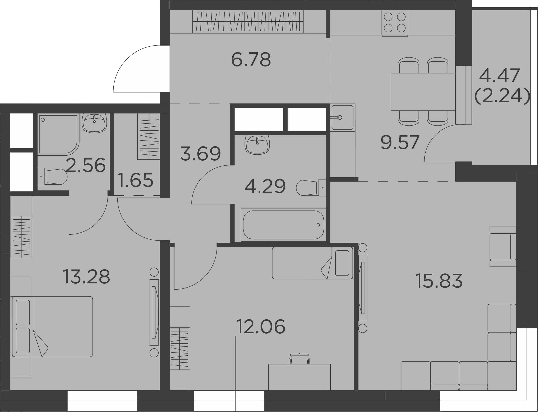 3-к.кв, 74.19 м²