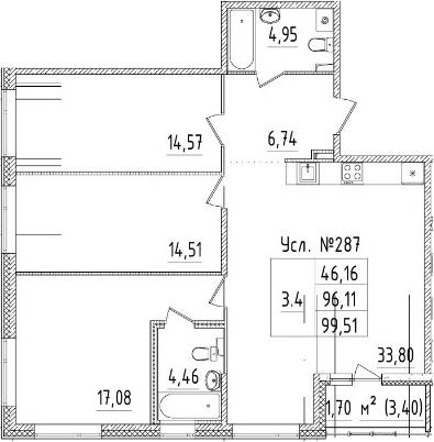 4-комнатная 99 м<sup>2</sup> на 2 этаже
