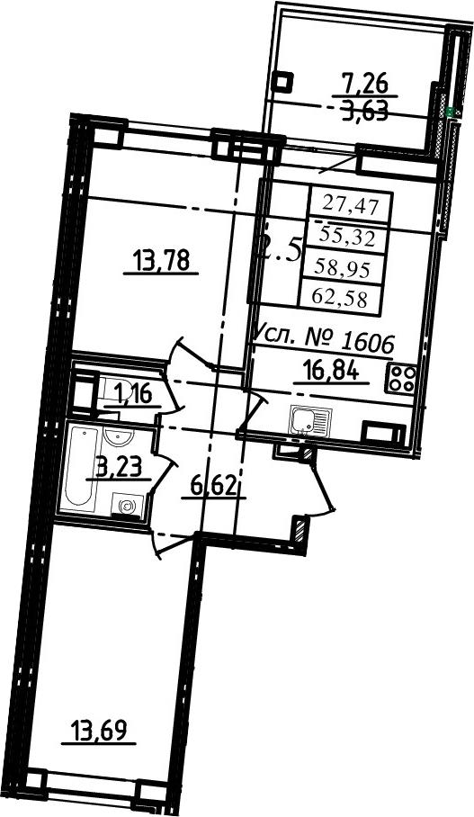 3-к.кв (евро), 62.58 м²