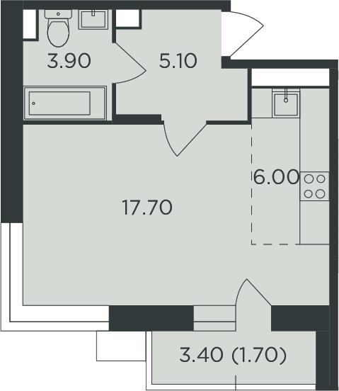 Студия, 36.1 м²