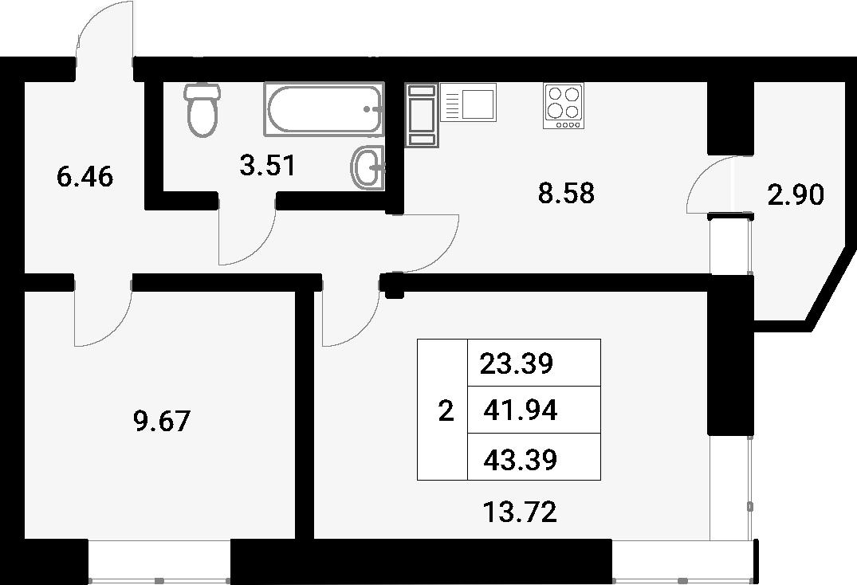 2-к.кв, 44.84 м²