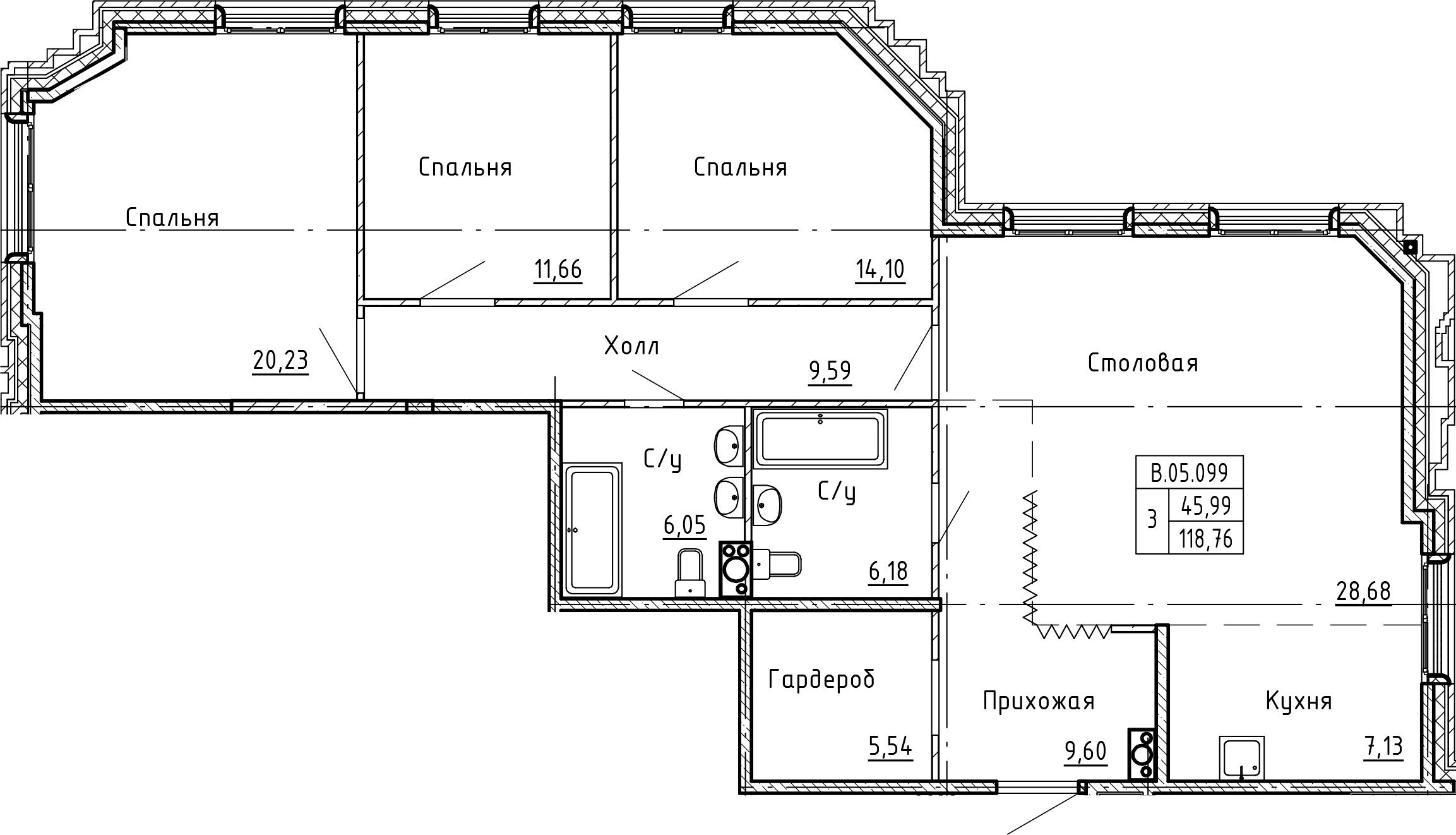 4-комнатная 118 м<sup>2</sup> на 5 этаже