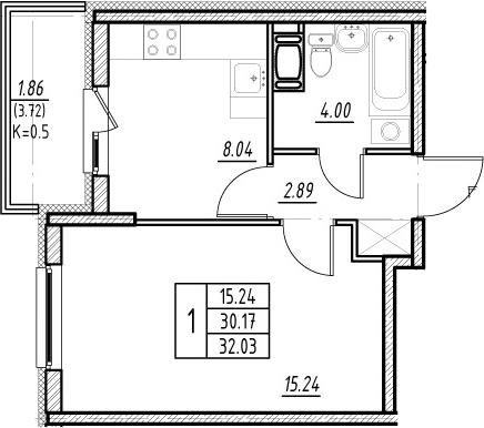 1-комнатная 33 м<sup>2</sup> на 7 этаже
