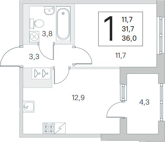 2-комнатная 36 м<sup>2</sup> на 2 этаже