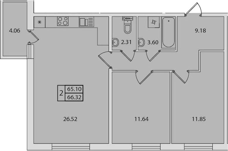 3-к.кв (евро), 69.16 м²