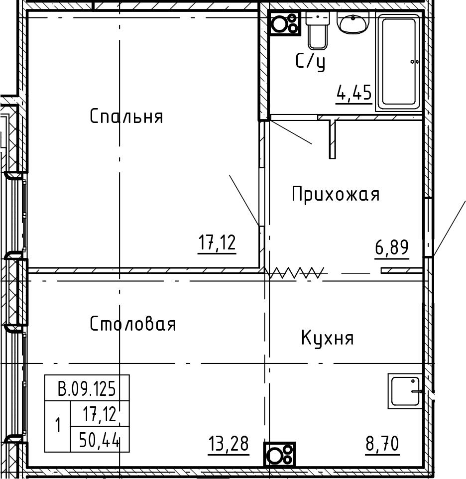 1-комнатная 50 м<sup>2</sup> на 9 этаже