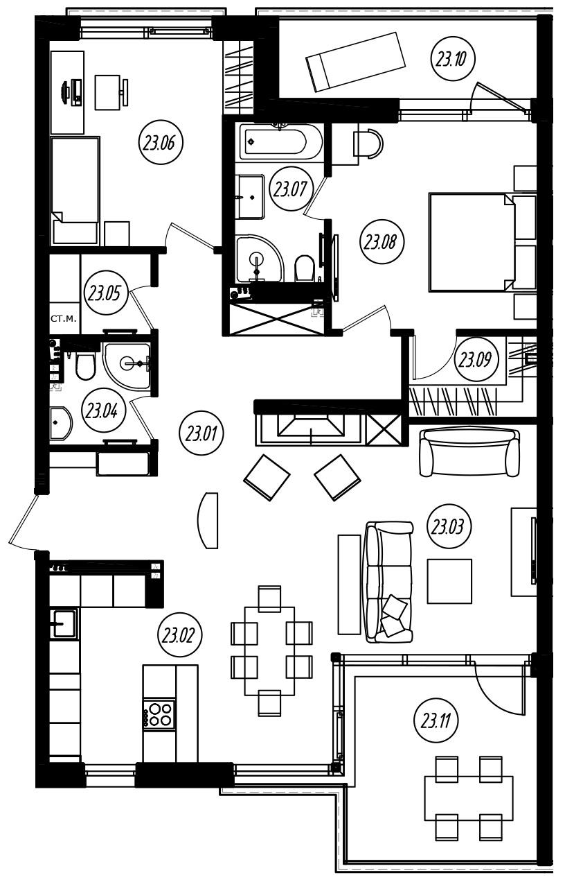 3-комнатная 117 м<sup>2</sup> на 3 этаже
