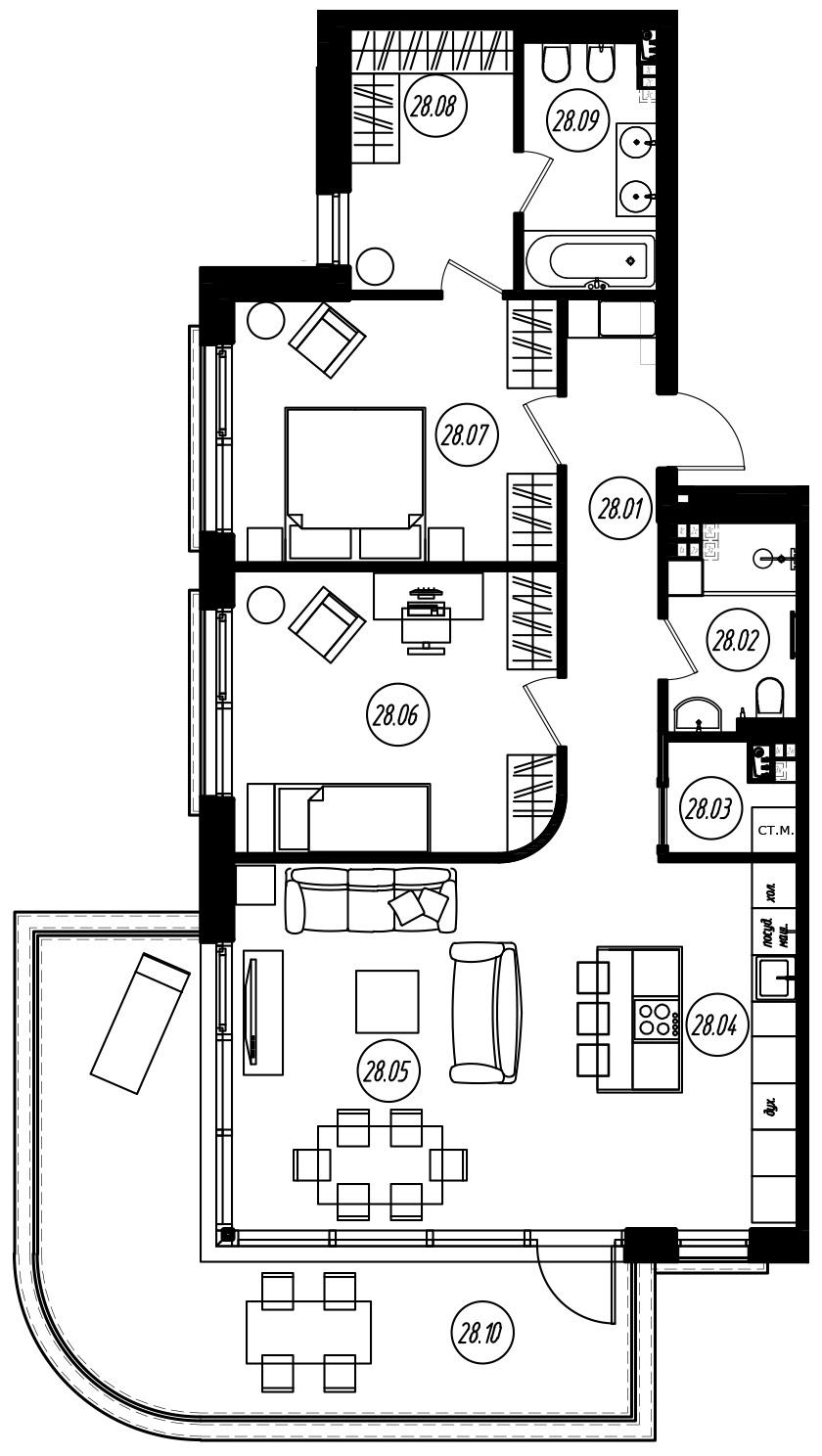 3-комнатная 115 м<sup>2</sup> на 3 этаже