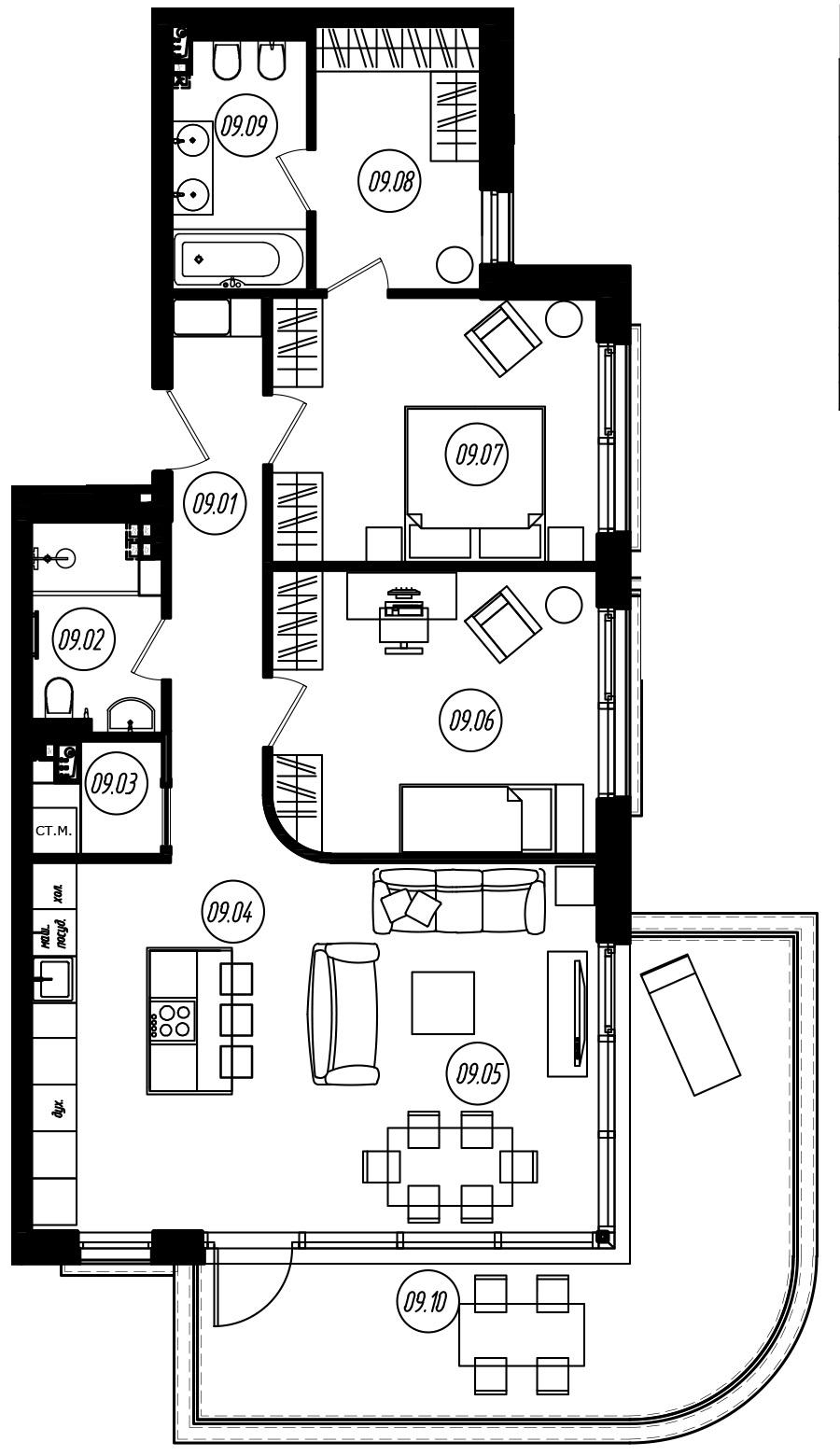 3-комнатная 111 м<sup>2</sup> на 2 этаже