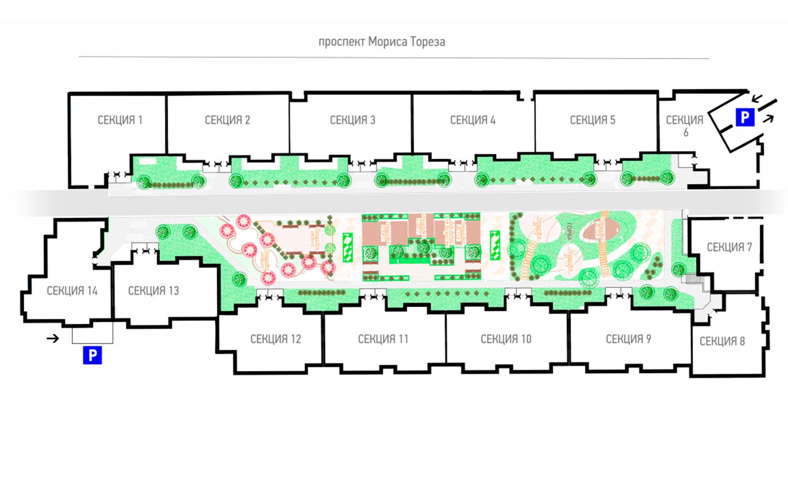 План жилого комплекса ЖК Сосновка на Тореза 77