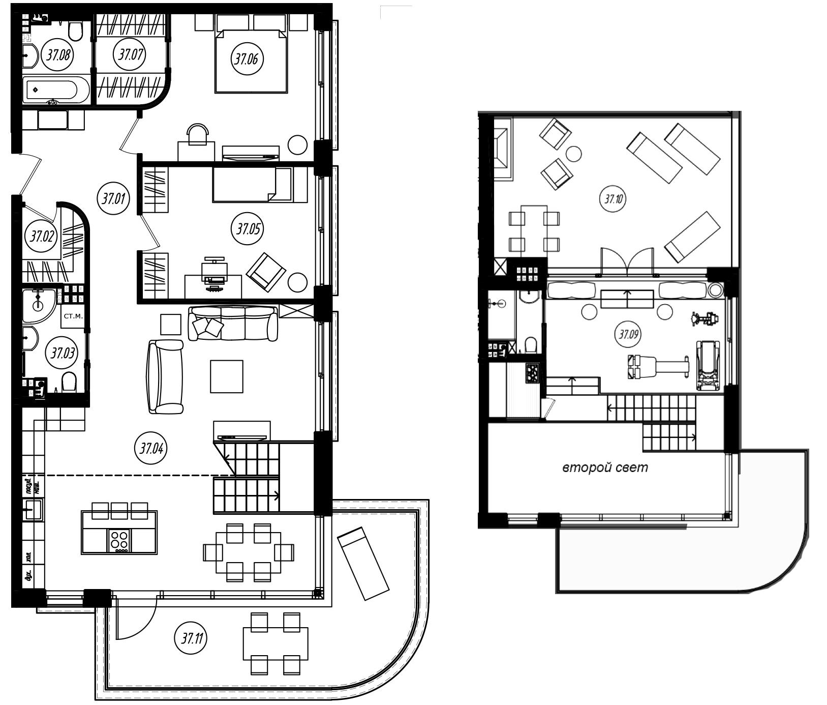3-комнатная 128 м<sup>2</sup> на 4 этаже