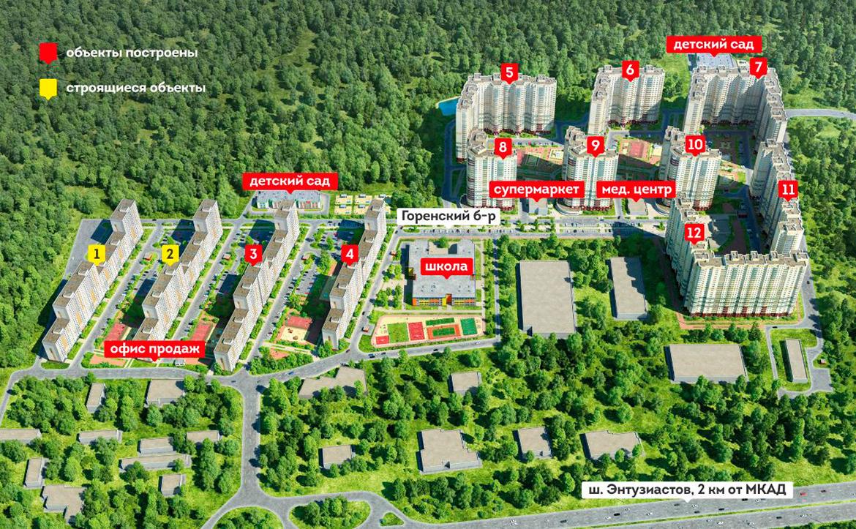 План жилого комплекса ЖК Новогиреевский