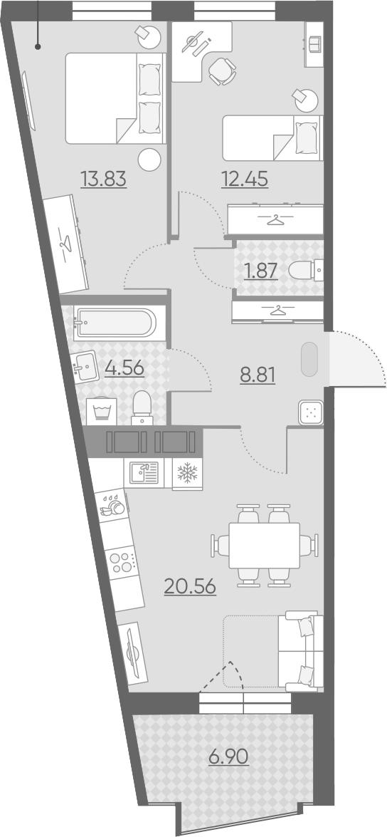3-комнатная 68 м<sup>2</sup> на 9 этаже