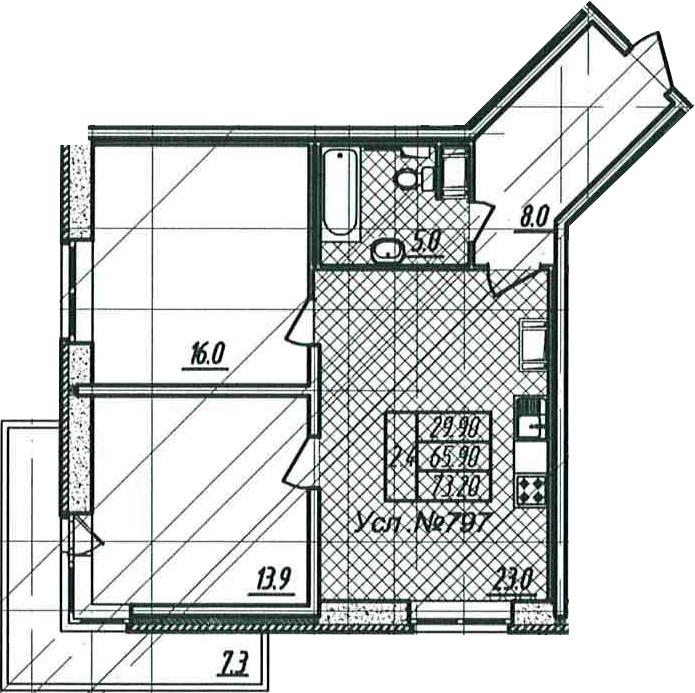 3-к.кв (евро), 73.23 м²