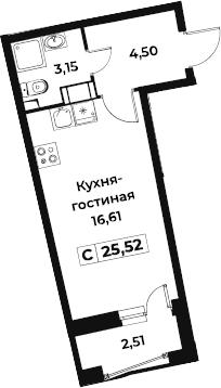 Студия 26 м<sup>2</sup> на 9 этаже