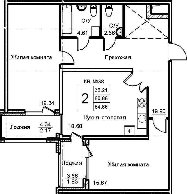 2-комнатная 88 м<sup>2</sup> на 4 этаже