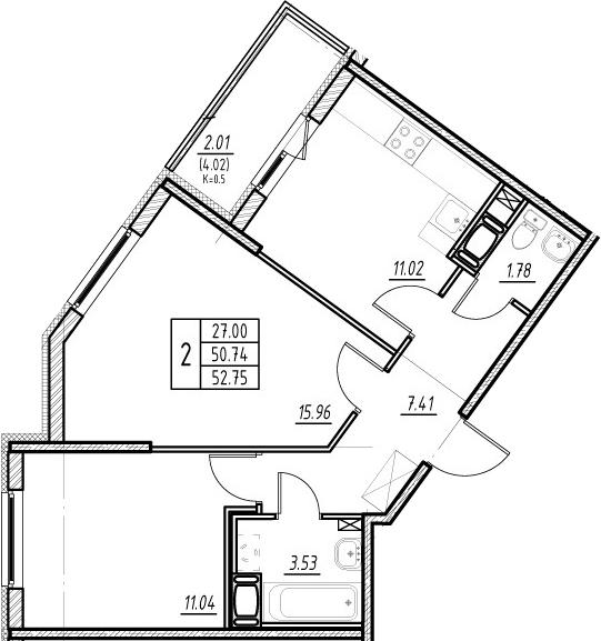 2-комнатная 54 м<sup>2</sup> на 13 этаже