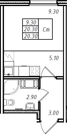 Студия 20 м<sup>2</sup> на 9 этаже