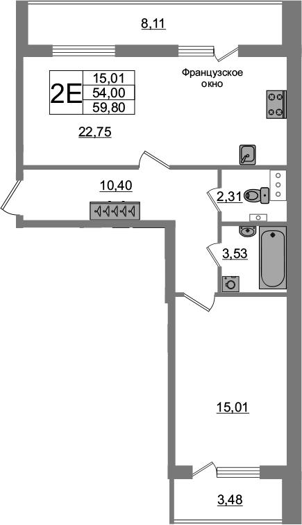 2-комнатная 65 м<sup>2</sup> на 3 этаже
