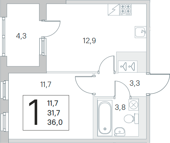 1-комнатная 36 м<sup>2</sup> на 5 этаже