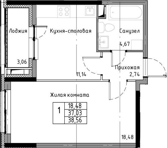 1-к.кв, 40.09 м²