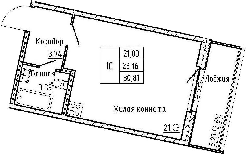Студия 33 м<sup>2</sup> на 3 этаже
