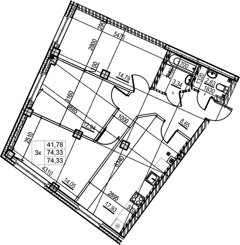 4-комнатная 74 м<sup>2</sup> на 2 этаже