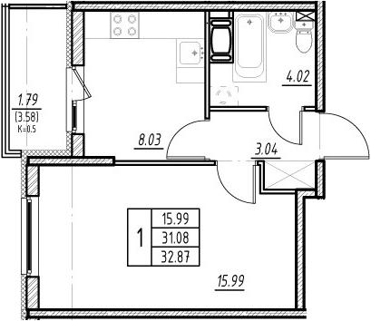 1-комнатная 34 м<sup>2</sup> на 13 этаже
