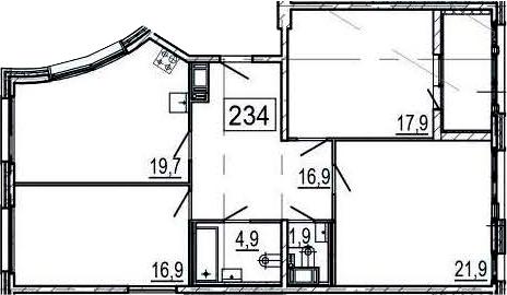 4-комнатная 105 м<sup>2</sup> на 3 этаже