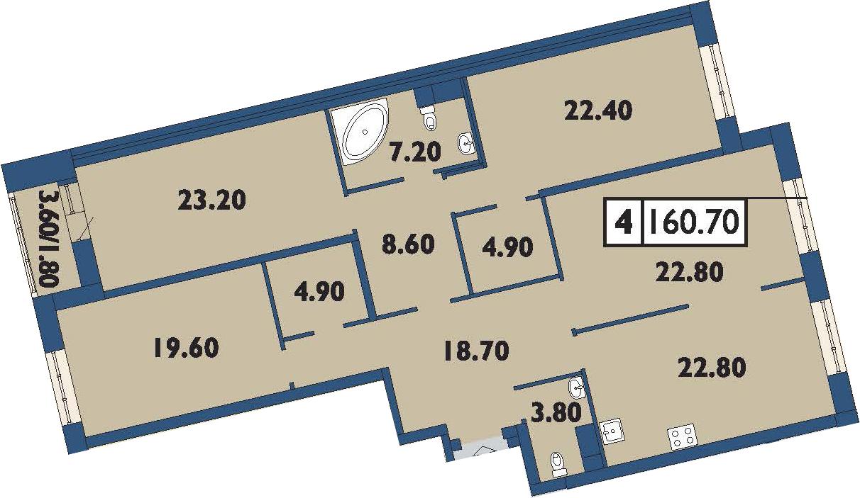 4-комнатная 162 м<sup>2</sup> на 14 этаже