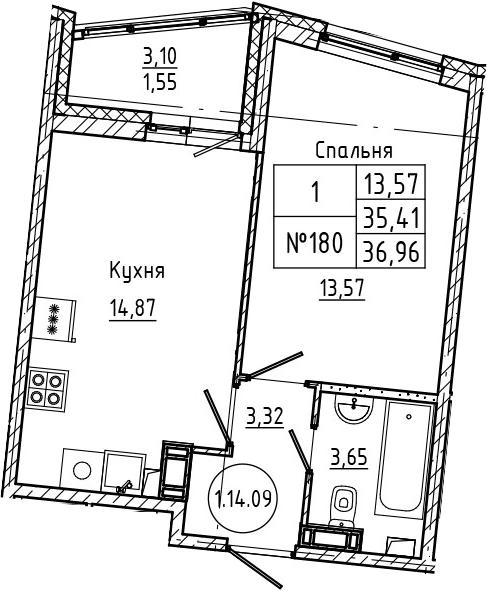 1-комнатная 38 м<sup>2</sup> на 14 этаже