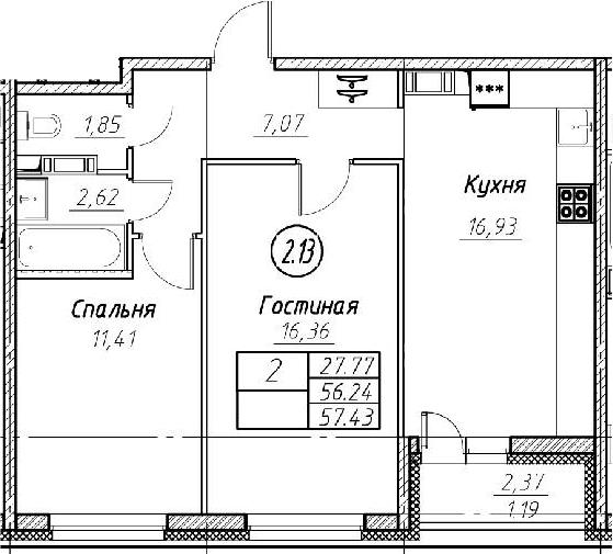 3-комнатная 58 м<sup>2</sup> на 8 этаже