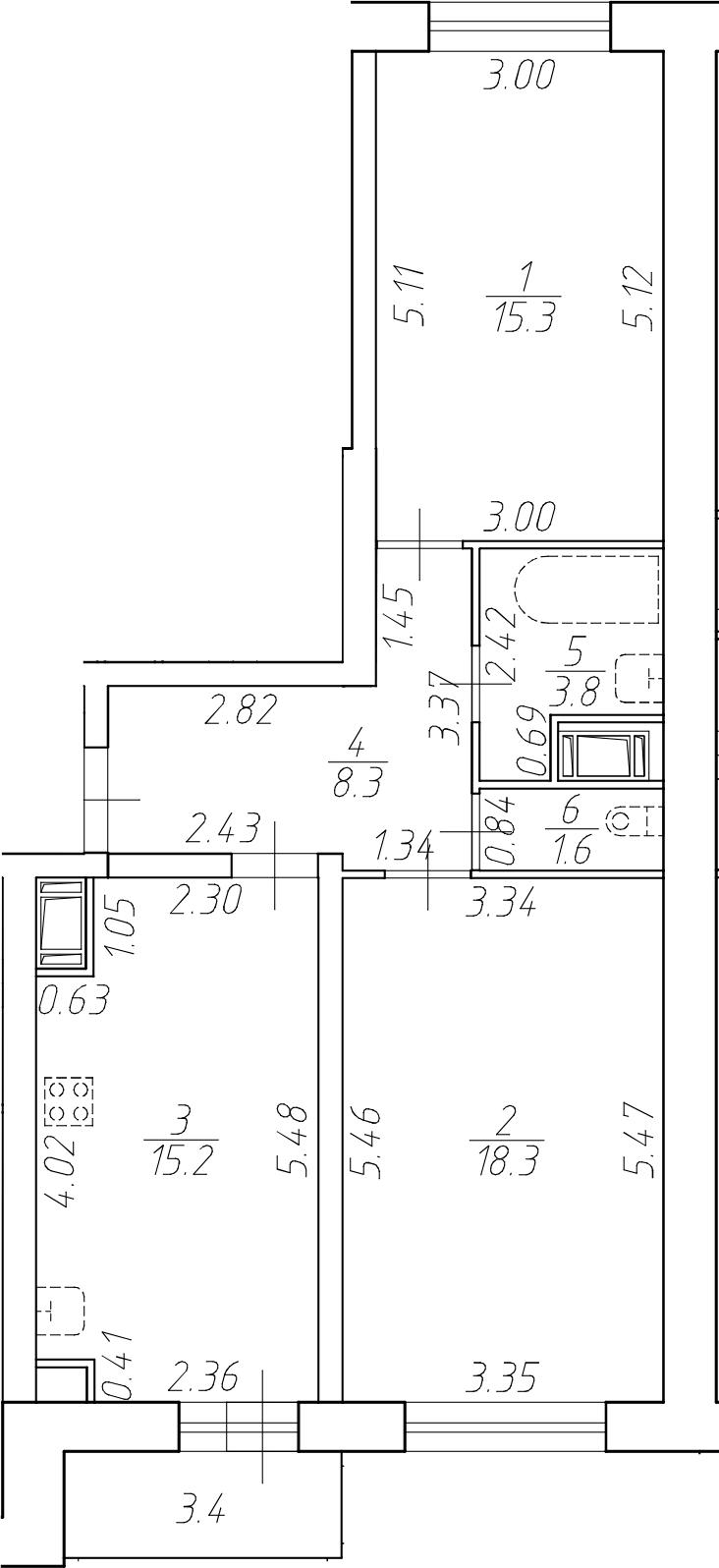 3-комнатная 65 м<sup>2</sup> на 12 этаже