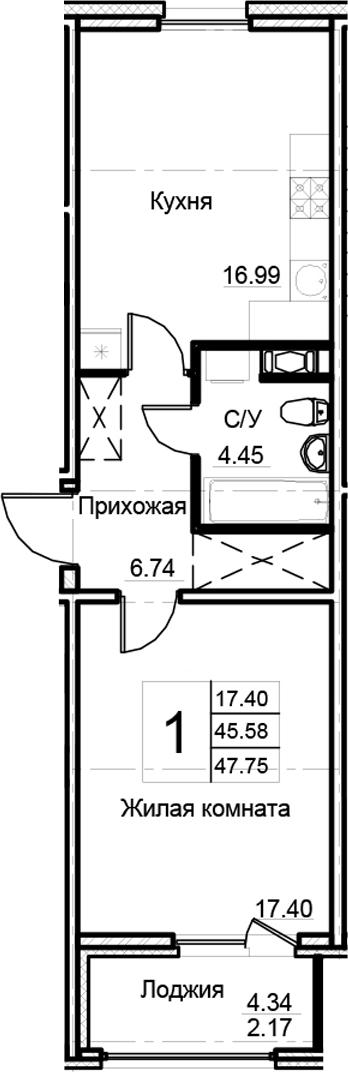 1-комнатная 49 м<sup>2</sup> на 9 этаже