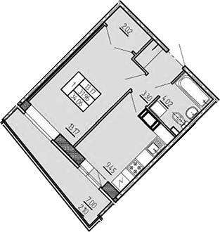 1-комнатная 38 м<sup>2</sup> на 6 этаже