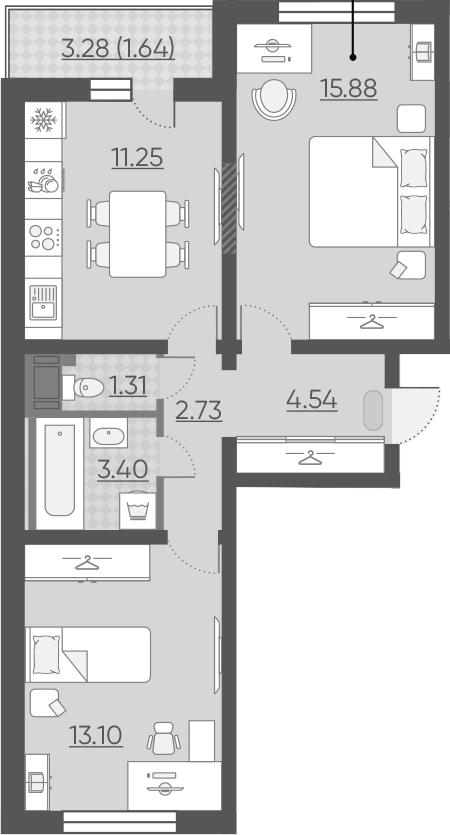 2-комнатная 55 м<sup>2</sup> на 13 этаже